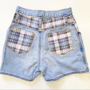 Vintage High Waisted Denim Shorts Plaid Pockets